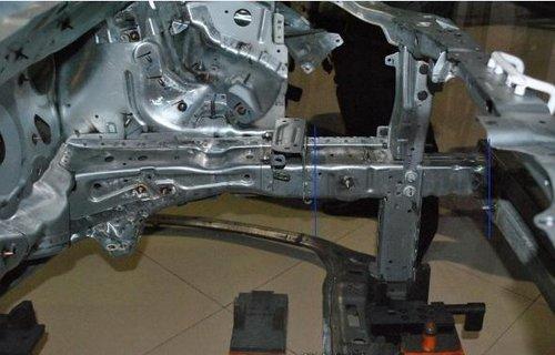 车头吸能溃缩在结构上的关键就是前纵梁.