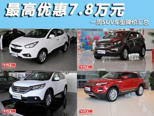 最高优惠7.8万元 一周SUV车型降价汇总