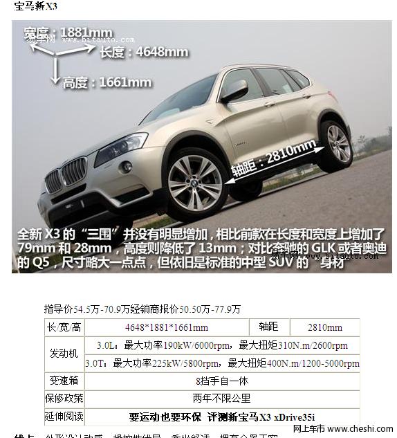 2011年上市新款SUV 宝马X3高清图片