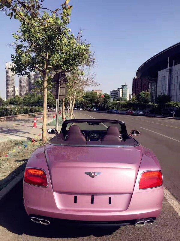 宾利GTC敞篷超跑 高级金属漆浪漫粉红色-图7