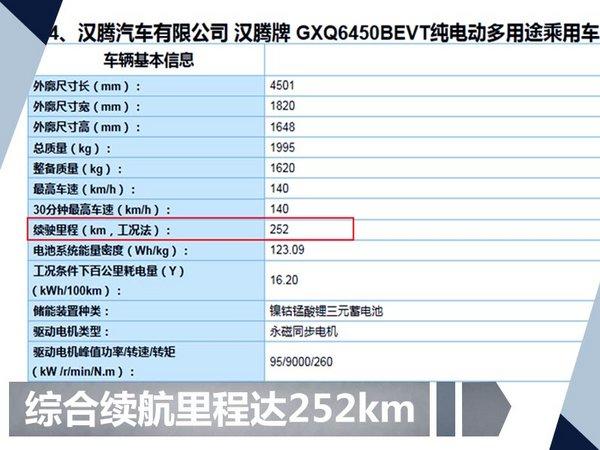 汉腾首款纯电动SUV将上市 综合续航达252km-图2