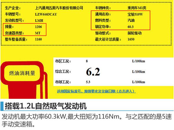 宝骏310W搭载1.2L发动机 综合油耗6.2L-图1