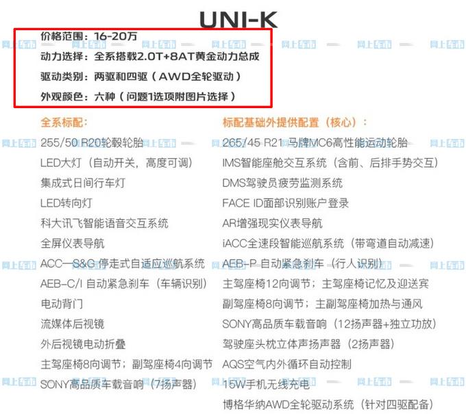 长安UNI-K 2.0T售16-20万元 比CS95更大还便宜-图4