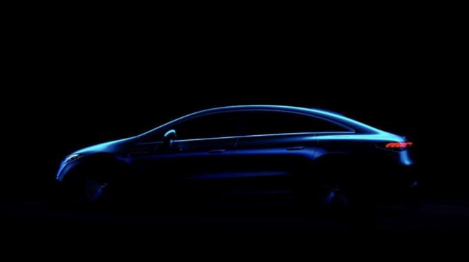 奔驰EQS最新预告图曝光 有望2021上海车展首发-图1