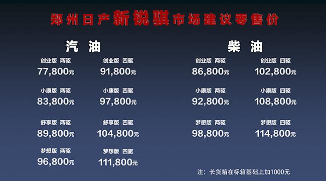 郑州日产新锐骐上市 售价7.78万-11.58万元-图2