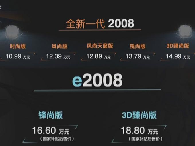 东风标致全新2008/e-2008上市 10.99万元起售-图1