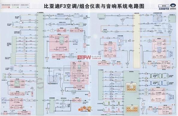 比亚迪f3空调,组合仪表与音响系统电路图[图]
